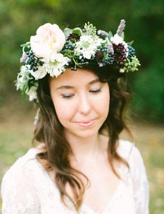 inspiration | flower crown with white, purple and blue flowers | via: green wedding shoes