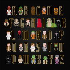 Star Wars Alphabet - New Edition - PixelPower - Amazing Cross-Stitch Patterns http://www.pixelpowerdesign.com/shop/alphabets/product/show/464-star-wars-alphabet-new-edition
