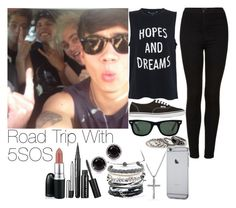 """5SOS~#3"" by lauren-12-pyd ❤ liked on Polyvore featuring Topshop, French Connection, Vans, Ray-Ban, MANGO, David Yurman, MAC Cosmetics, Domo Beads and Annello"