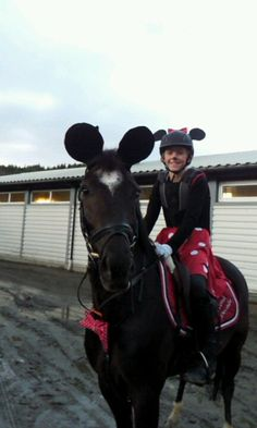 My daughter with her horse named micky mouse...so when they went for costume jumping i dressed them up as mickey and minnie :)