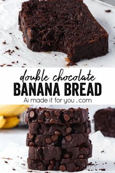Somewhere between fudgy chocolate brownies and banana bread, this double chocolate banana bread is super moist, rich, and a killer recipe! #chocolatebananabread #doublechocolate #chocolatechips #moist #loafcake Chocolate Banana Bread, Chocolate Brownies, Chocolate Desserts, Healthy Dessert Recipes, Sweet Desserts, Easy Desserts, Delicious Recipes, Yummy Food, Bread Recipes