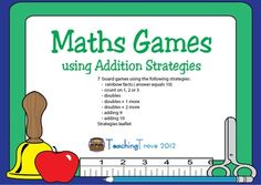 7 addition board games to reinforce simple addition strategies to 18