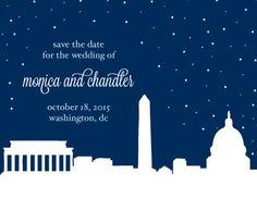 UPDATED for Fall 2014. The *NEW* twinkly DC Skyline Wedding Invitation Suite includes save the date cards, wedding invitation, reception card, RSVP card, and accommodations card. Includes many options to customize. | Hey Love Designs