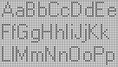 Simple block alphabet counted cross stitch chart, with upper and lowercase letters, numbers 0-9, and a question mark; 9 stitches high.