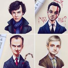 Mycroft looks great! But the other ones look kinda weird and for some reason I thought Sherlock was Eleven from stranger things dressed up as Sherlock. Sherlock John, Sherlock Holmes Bbc, Fan Art Sherlock, Sherlock Cast, Sherlock Fandom, Moriarty, Johnlock, Ryan Gosling, Keanu Reeves