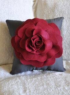 Gray Decorative Pillow - Rose Pillow - Ruby Red on Grey Pillow - Throw Pillow