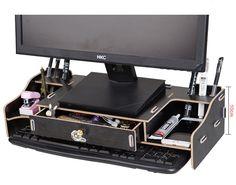Новый стол хранения древесины DIY увеличить компьютер Дисплей клавиатура размещение стол организатор профилактика шейного спондилез купить на AliExpress