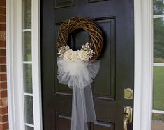 Items similar to spring summer wreaths wedding door decorations wreaths white orchids tulle veil front storm door phalaenopsis on Etsy Wedding Door Decorations, Wedding Door Wreaths, Bridal Shower Wreaths, Bridal Shower Backdrop, Wedding Doors, Bridal Shower Rustic, Bridal Shower Decorations, Wreaths For Front Door, Front Doors