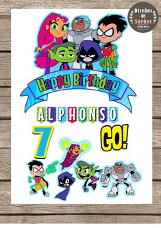 Teen Titans Go Cake Topper, Teen Titans Go Birthday, Teen Titans Party, Custom and Printable Cake To Happy Birthday, Birthday Parties, Teen Titans Go, Paper Cover, Cake Toppers, Clip Art, Creative, Prints, Handmade