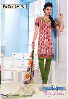 Red & Olive Salwar Kameez, Top:fabric amarican 2.00 mtrs, Bottom:fabric amarican 2.00 mtrs, Dupatta:fabric chiffon 2.25 mtrs   Visit: http://surateshop.com/product-details.php?cid=2_27_44&pid=11808&mid=0