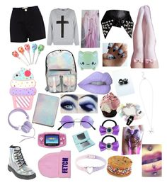 """""""pastel goth babe"""" by faiththewizard ❤ liked on Polyvore featuring River Island, Urbanears, Nintendo, Kreepsville 666, women's clothing, women's fashion, women, female, woman and misses"""