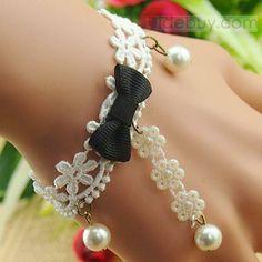 Impressive Handmade White Pearl Lace Flower Black Bowknot with Ring Bracelet : Tidebuy.com