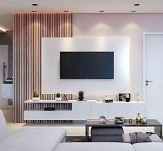 Modern TV Unit interior design Living Room Interior, Home Living Room, Tv Living Rooms, Living Room Decor Tv, Beige Living Rooms, Living Room Furniture, Tv Wall Design, House Design, Hall Design