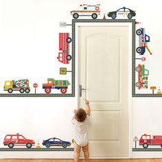 Adhesive fabric reusable, repositionable wall decals. Fire Truck, Dump Truck, Tow Truck, Cement Mixer and Utility Truck, Ambulance, Police car,