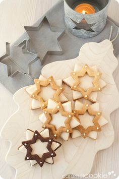 double stars of ginger_caramel cookie - caramel cookie Christmas Cookies Gift, Christmas Sweets, Christmas Gingerbread, Christmas Baking, Star Cookies, Biscuit Cookies, Cute Cookies, Sugar Cookie Icing, Royal Icing Cookies