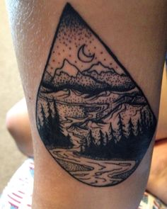 #coldsteelamericatattoo #thaoerivas #sanfrancisco #haightashburyst #tattoo #stippletattoo redwoods, mountains and river with stars tattoo in teardrop shape.