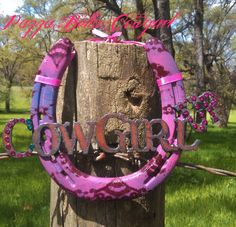 """Cowgirl Up"" Sole Pony Horseshoe Wall Art!  check out my page on facebook (you can order there too!)  www.facebook.com/pazzabellacowgurlbling"