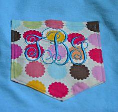 Short Sleeve Monogrammed Pocket TeeChevron by pocketfullofpaisleys, $22.00