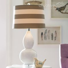 White Stoneware Table Lamp W/ Striped Linen Shade ☆ Creative Co Op Home