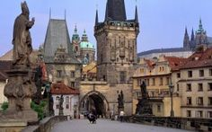the view while crossing the Charles Bridge on which construction was begun in the 1300s