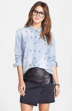 Halogen® Embellished Denim Shirt (Regular & Petite) available at #Nordstrom #NSale