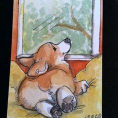 by Nicole M. Fish.  Adorable #corgi watercolor!