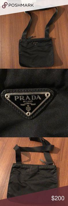 Authentic Prada Nylon Messenger bag Black nylon Prada messenger bag. Excellent condition ! Prada Bags