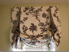 London Shade with contrast boxed insets, contrast microwelt, fringe along bottom, lined and interlined. message DesignNashville for quotes Drapes And Blinds, Roman Blinds, Drapes Curtains, Burlap Curtains, Relaxed Roman Shade, Balloon Shades, Custom Valances, Bedroom Windows, Bay Windows