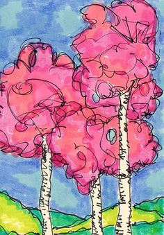 watercolor trees ~   tree doodle  artist trading card ~ by Karol Ann