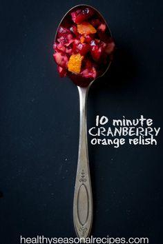 Mom's 10 minute raw cranberry orange relish for Thanksgiving on healthyseasonalrecipes #glutenfree and vegan