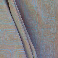Leinenstoff mit 70er Jahre Muster ( 245 HWW-we) bedruckt. 70s pattern print on linen.