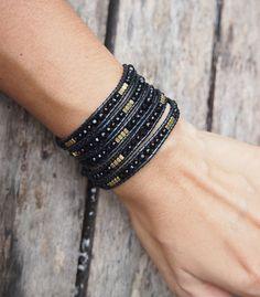 Black mix wrap bracelet, Boho bracelet, Beadwork bracelet
