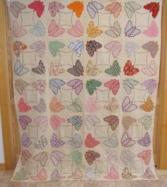 THE BEST 1930s Butterfly Applique Quilt Top Feedsacks Mother's Choice MINT