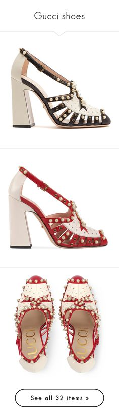 """""""Gucci shoes"""" by matan-sowatskey on Polyvore featuring shoes, pumps, perforated leather shoes, leather footwear, block-heel shoes, perforated shoes, gucci shoes, heels, sandals and scarpe"""