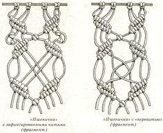 Makramee - geknüpfte Netze: Muster und Stücke des Produktes: pico