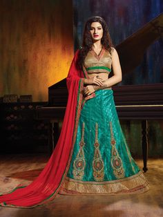 Women's Emerald Color Net Fabric Pretty Unstitched Lehenga Choli With Lace Work Dupatta