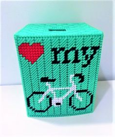 Cyclists sure do love their bicycles dont they? Now you can give the gift of customization to a bicyclist you know. Two opposite sides are decorated with a red heart, My and an image of a bicycle. Pricing is per 1 boutique size tissue box cover. Want more? Let us know!  Maiden Long Islands plastic canvas tissue box covers are perfect for get well gifts, bathroom decor, offices, teacher gifts or even as table decor/party favors. Each box is handmade and can be personalized to suite your h...