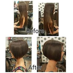 So much cleaner and nicer Long Hair Cut Short, Short Hair Styles, Hairstyles Haircuts, Pretty Hairstyles, Before And After Haircut, Waist Length Hair, Shaved Nape, Girls Short Haircuts, Hair Transformation