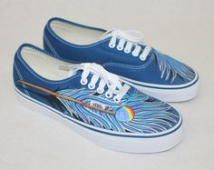 Blue and Purple peacock feather Vans by BStreetShoes on Etsy