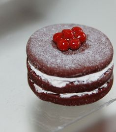 Dollhouse Miniature Food - Chocolate cherry layer cake.      imagine this little cake on a chopping board in a mouse kitchen in spring...