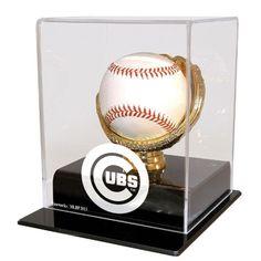 Chicago Cubs MLB Single Baseball Gold Glove Display