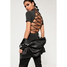 Missguided Lace Up Back High Neck Bodysuit ($32) ❤ liked on Polyvore featuring intimates, shapewear and grey