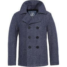 Navy Herringbone Pea Coat | Frank Tailor