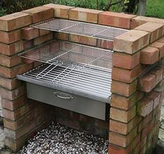 There are lots of ways to build brick barbecues which, if done properly, can become an interesting characteristic in your garden. A Brick BBQ Kit is going to bring you endless enjoyment from having barbecue parties in the garden with family and friends, a Brick Grill, Brick Ovens, Stainless Steel Grill, Charcoal Bbq, Grill Design, Barbecue Design, Outdoor Cooking, Outdoor Kitchens, Outdoor Furniture Sets