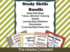 "Please check out the preview and the links below to review the contents of the Study Skills Bundle.Study Skills Bundle Contents:Study Skills Bingo""I have...who has"" Listening ActivityMultiple Intelligences - Learning Styles Slideshow and activityMultiple Intelligences - Learning Styles PostersBe the first to know about my new discounts, freebies and product launches:       Look for the red star near the top of any page within my store and  click it to become a follower."