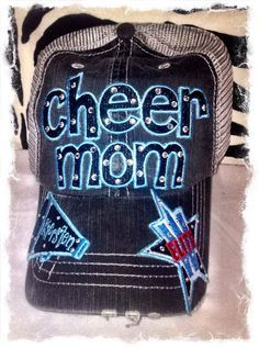 Personalized Cheer Mom Hat with 2 bill extras by RebelChicks Cheer Outfits, Cheer Clothes, Cheer Mom, Cheer Stuff, Cheerleading Gifts, 2 Bill, Mom Hats, Team Mom, Softball Mom