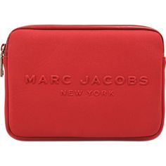 Marc Jacobs Neoprene Mini Tablet Case (£33) ❤ liked on Polyvore featuring bags, red, marc jacobs bags, mini zipper bags, red mini bag, red bag and mini zip bags