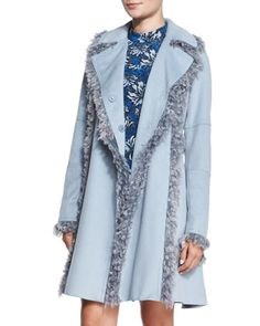 Melton+Faux-Fur-Trim+Wool-Blend+Peacoat,+Icicle+Blue+by+Rebecca+Taylor+at+Bergdorf+Goodman.