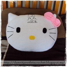 Ravelry: Hello Kitty Pillow pattern by Janet Carrillo Crochet Cushion Pattern, Crochet Cushion Cover, Crochet Cushions, Crochet Patterns, Crochet Panda, Crochet For Kids, Knitting Projects, Crochet Projects, Hello Kitty Crochet