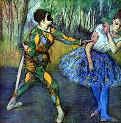 """DiegoVoci™ """"arlequin & columbine"""" 1884 Edgar #Degas Dancers and Harlequins - a tenuous combination. Diego created both."""